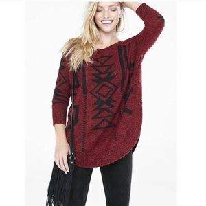 Express Marled Aztec Ikat Extreme Circle Sweater